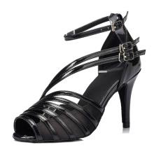 Women's Black Medium High Heel Sandals Soft Bottom Modern Latin Ballroom Dance Shoes