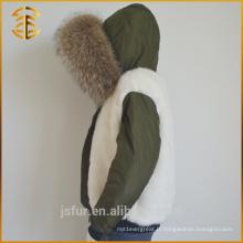Dernières Genuine Lady Long Faux Femmes Hooded Fur Parka