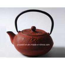 0.6L ferro fundido Teapot em cor vermelha