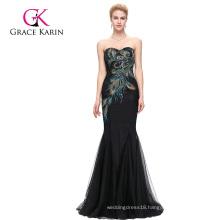 Grace Karin Full-Length Strapless Sweetheart Black Mermaid Peacock Prom Dress GK000080-1
