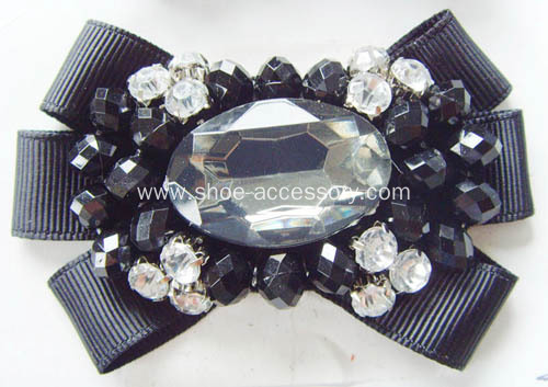 Rhinestone Centered Flower Bowknot Fabric Flower Shoe Clips