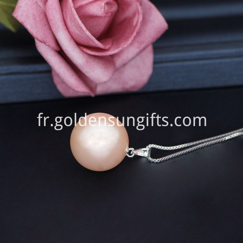 Pink Shell Pearl Pendant Necklace