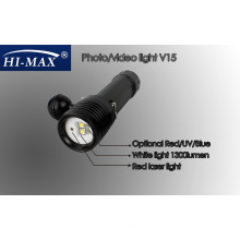 HI-MAX V15 mit 2pcs Cree U2 110 Grad Strahlwinkel weißes Licht und 2pcs Cree N4 rotes / blaues Licht und 1pc rotes Minilaserlicht