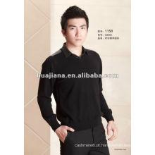 Camisola de caxemira formal masculina moderna com gola de camisa