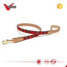 Golden metal check pattern pet leash dog leash