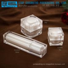 Cosmética de lujo de pared doble espesor recomendado especial buena calidad envases tarro y botella de acrílico del cubo cuadrado