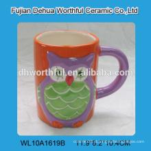 Caneca de cerâmica decorativa do chá, caneca de café cerâmica com projeto da coruja