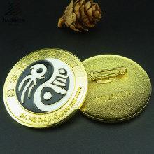 Botão do Pin de segurança do metal do emblema do esmalte da fábrica do fornecedor do ouro