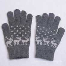 2015 Venda quente jacquard lã luvas de tela de toque