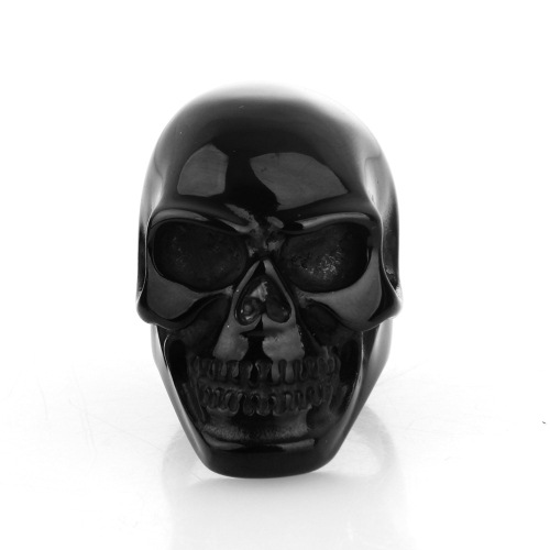 Stainless steel ring black skull