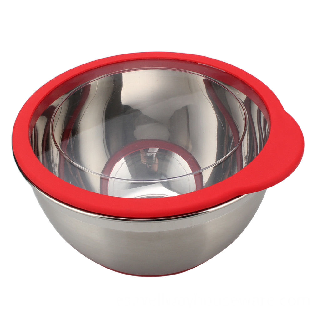 Stainless Steel Deep Bowl Set With Transparent 3