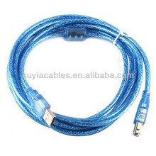 CABLE USB bleu transparent de haute qualité 2.0 AM À BM USB CABLE D'IMPRIMANTE 5m