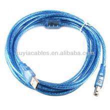 Кабель высокого качества прозрачно голубого USB 2.0 AM К КАБЕЛУ ПРИНТЕРА BM USB 5m