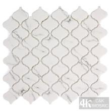 Azulejos de mosaico de vidrio arabesco blanco como la nieve para el baño