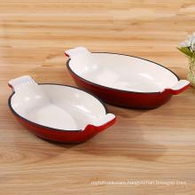 Wholesale color enamel cast iron fish plate