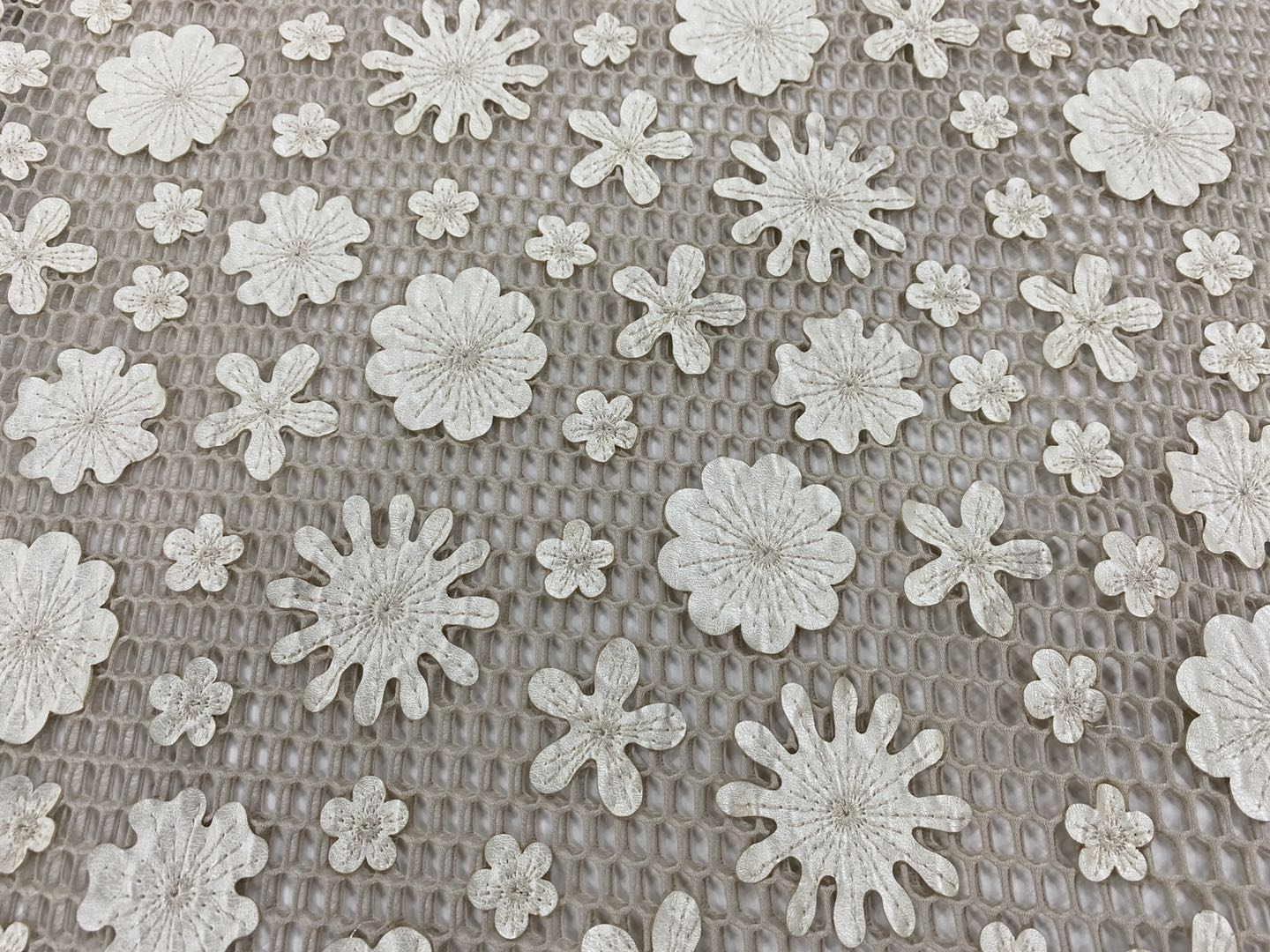Champagne PU Embroidery Fabric