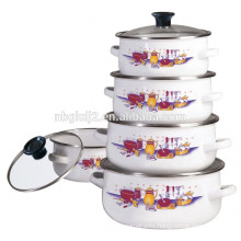 5pcs enamel metal casserole pot with glass lid