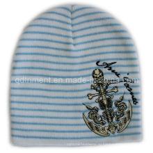 Вышивка акриловая полосатая трикотажная спортивная лыжная шапочка (TRK14009)