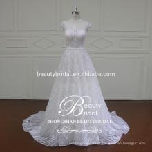 Fábrica Atacadista Alibaba Muslim Fancy Bridal A-Line Vestido de casamento com manga boné