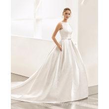 Flowers Neckline V Back Ball Gown Wedding Dress
