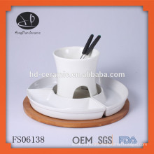 one piece porcelain chocolate fondue set for 4 person,fondue set with wooden base