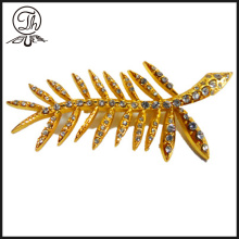 wholesale Gold leaf rhinestones pin badges