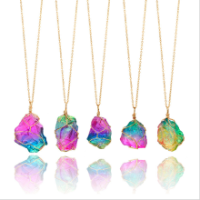 Natural rainbow irregular stone crystal pendant earrings
