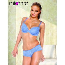 Miorre Wholesale Women's Semi Cup Padded Bra & Hipster Panty Set Blu Melange