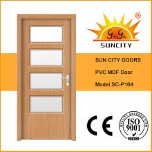 Puerta interior de lujo de MDF de PVC de lujo con diseño de vidrio (SC-P164)