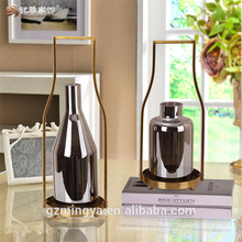 Customized antique imitation metal and glass candle lantern holders for royal home decor