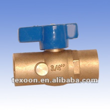 fully welded brass ball gas drain valves with butterfly handle lead free