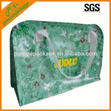 Saco pp tecido laminado reutilizável com zíper