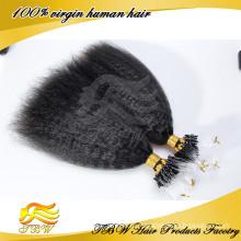 Kinky прямая микро кольца петли бусины наконечником Remy человеческих волос расширений 0,9 г/с