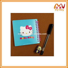 Atacado A4 / A5 / A6 PVC capa 3d notebook com fio espiral, lentilha portátil