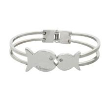 Braceletes de cristal de aço inoxidável com beijo de casal bege pulseira de cristal romântico