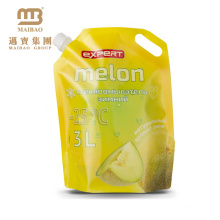 stand up plastic pouch with spout shape for laundry detergent