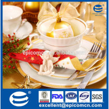 high quality gold decor giftware new bone china christmas tea set