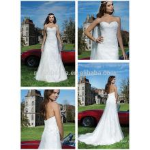 2014 Princesse de charme Robe de mariée Empire Robe de mariée Robe de mariée à la mariée Long Tulle Made Lace Applique à lacets NB0657