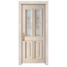Design classique simple européen avec fenêtre en verre Porte en bois massif