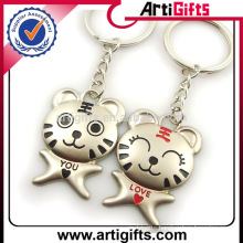 Promotion gift couple metal tiger key chain
