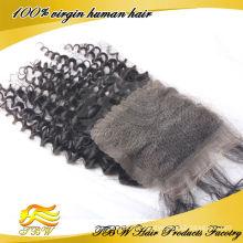 Gros fermoirs de cheveux partie naturelle, pièce de fermeture de cheveux indien vierge