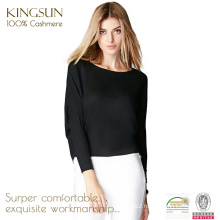 JS-16003 Round Neck Long Sleeve Loose Black Pure Cashmere Women Knitwear