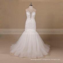 Decent Mermaid Style Beads Lie Around Sweet Heart Lace Wedding Dress