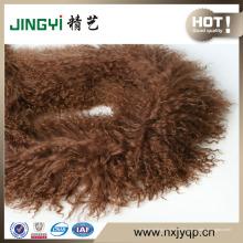 Bufanda mongol túnica de la piel del cordero de la piel rizada al por mayor del pelo largo