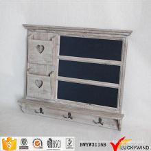 Chic Gray Antique Wooden Blackboard Wall Shelf