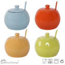Colorful Glaze Stoneware Sugar Pot with Spoon