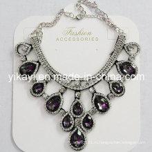 Леди мода ювелирных изделий черный цветок Кристалл стекла Кулон ожерелье (JE0211-серый)