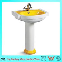Cuarto de baño de cerámica de lujo del lavabo del amarillo de Ovc-A7114y