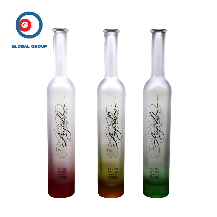 Narrow Mouth Cylindrical Glass Screen Printing Glass Vodka Bottle