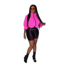 C0256 Popular Contrast Color Stitching Sports Suit Female Casual Sexy 2 piece set women clothing